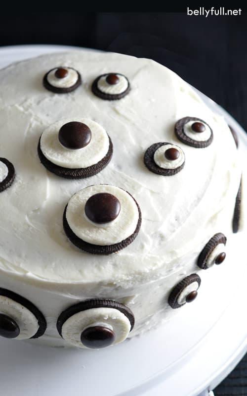 decorated chocolate Cake with Oreo Eyes