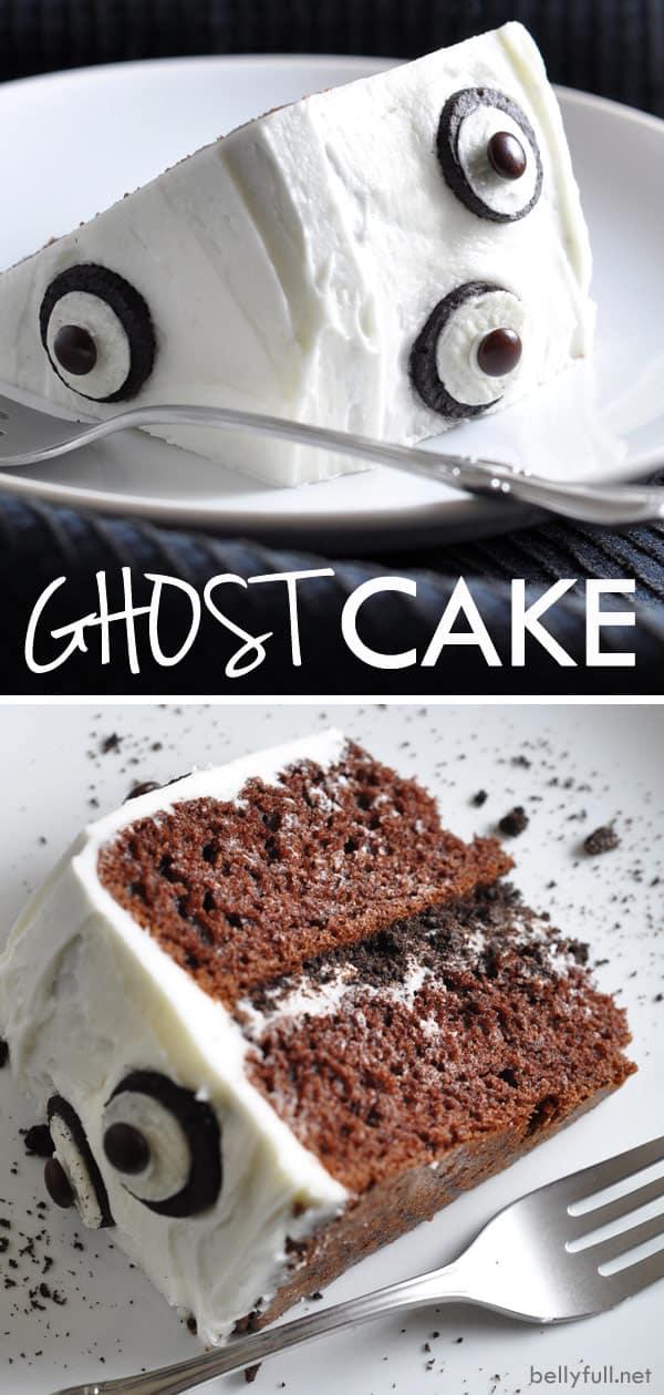 Homemade Ghost Cake for Halloween