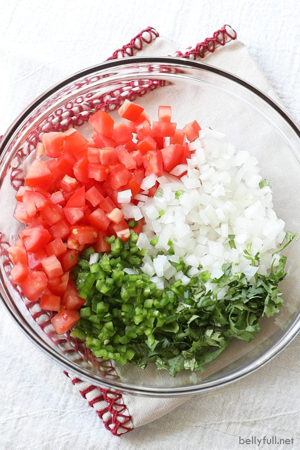 Diced tomatoes, onion, jalapeno, and cilantro