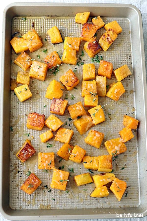 roasted butternut squash on baking sheet
