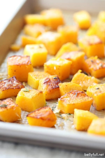 roasted butternut squash on baking sheet