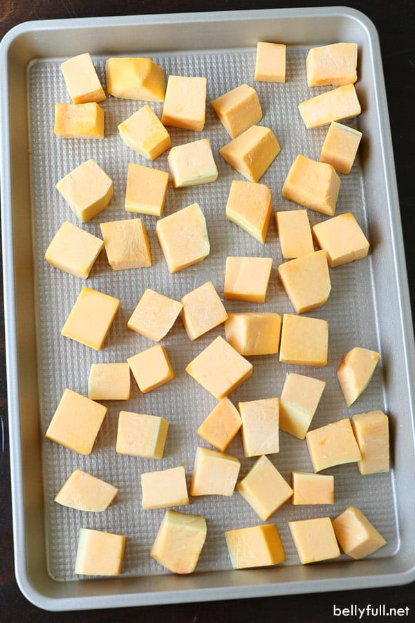 cut up cubes of raw butternut squash
