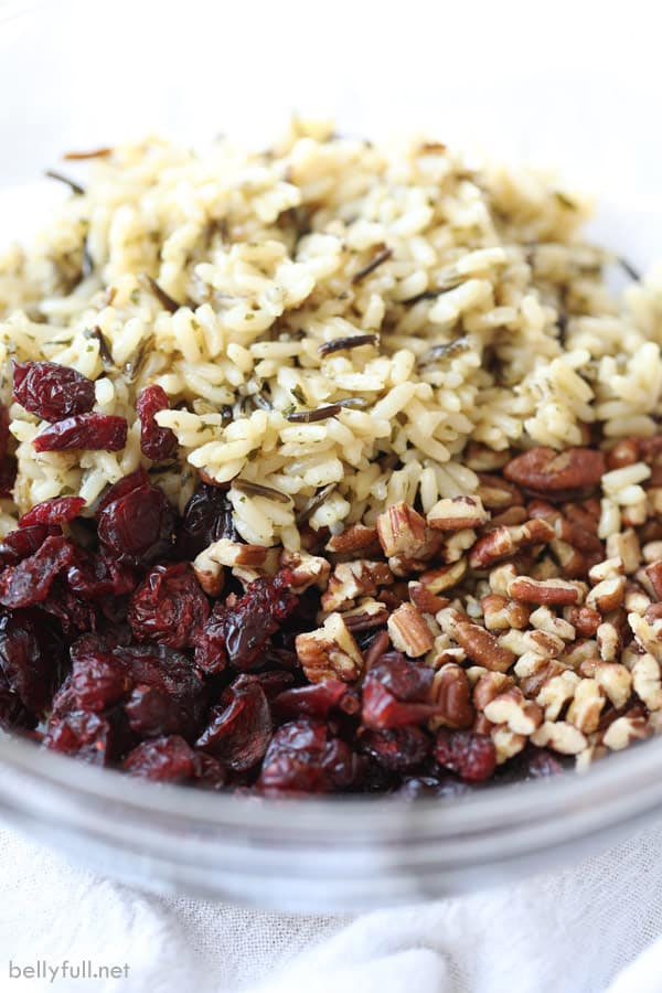 wild rice, dried cranberries, and pecans in bowl