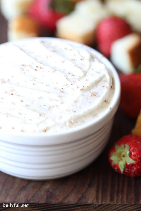 Tiramisu Dip in white bowl