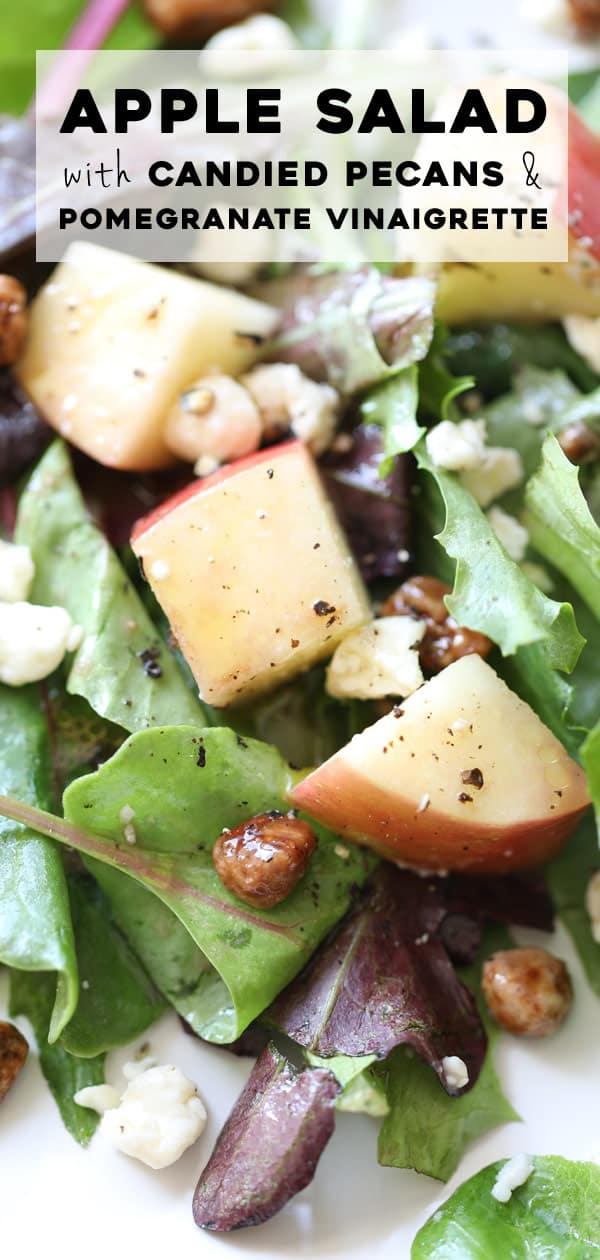simple salad with apples, candied pecans, and blue cheese