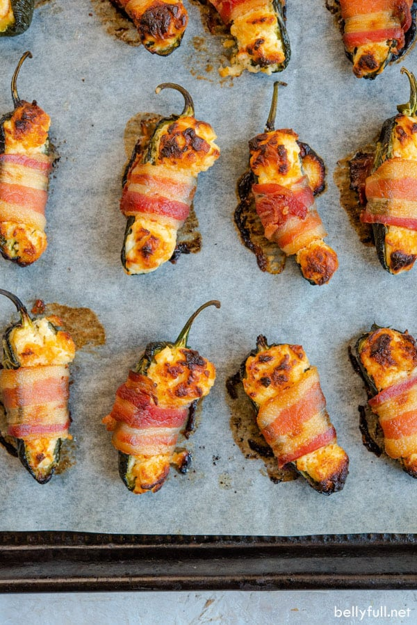 Bacon Wrapped Jalapenos broiled on baking sheet
