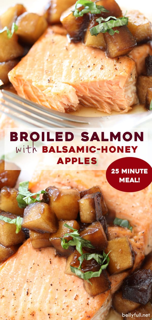 Broiled salmon with balsamic-honey apples