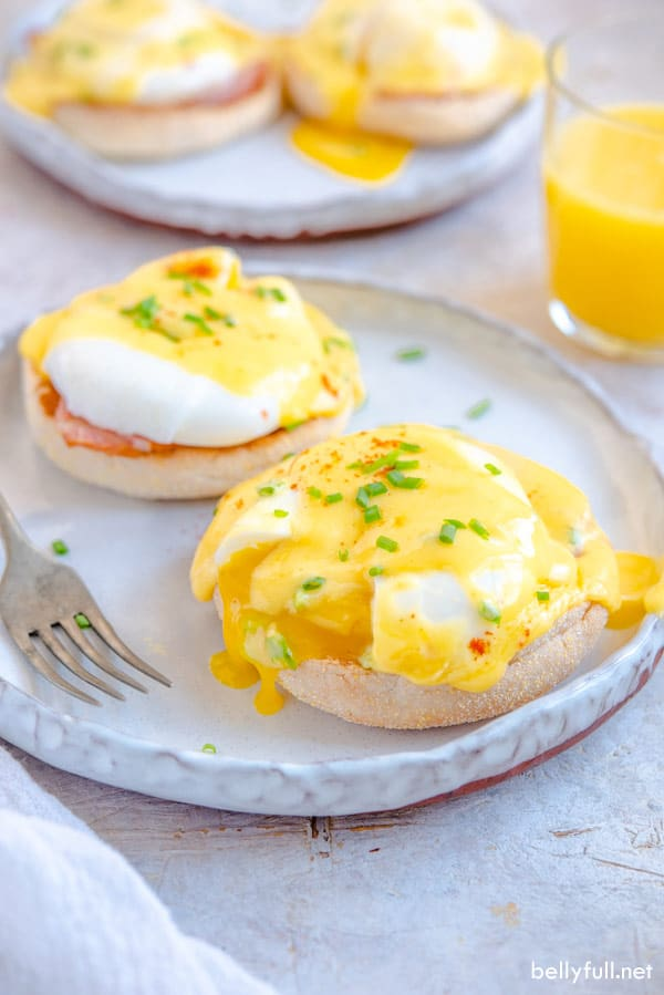 poached eggs with Hollandaise sauce on toasted English muffins