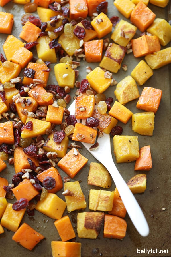 roasted acorn squash, butternut squash, and sweet potato, mixed with cranberries and pecans