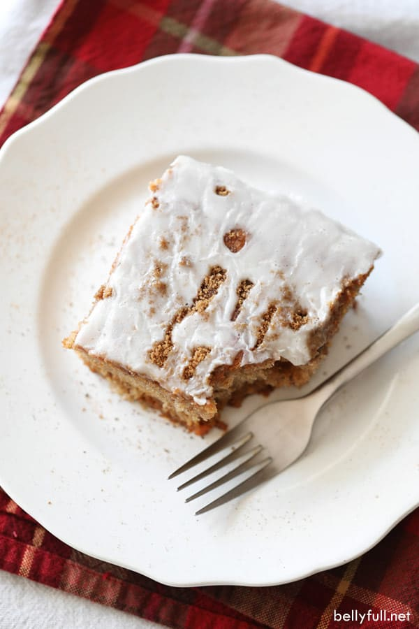 slice of cake on white plate with fork