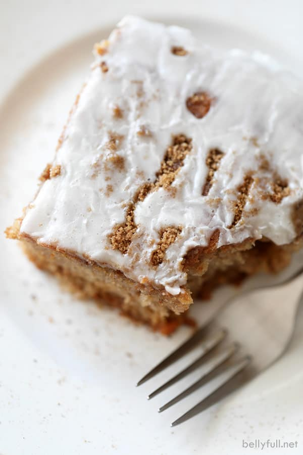 slice of spice cake with fork