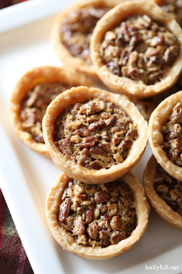 Mini Pecan Pies stacked in a pyramid
