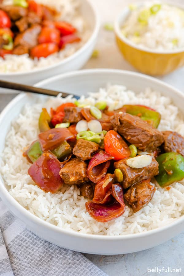 Beef Stir Fry in white bowl