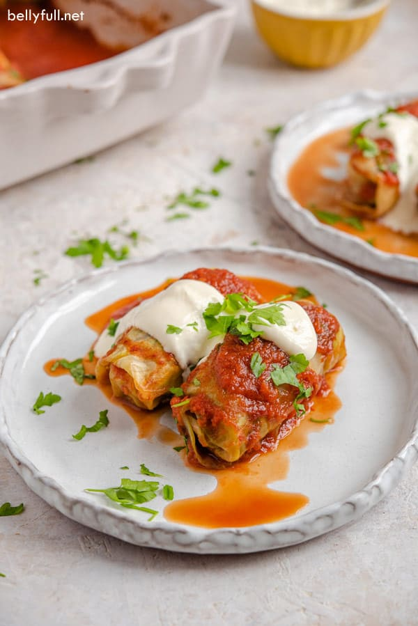 stuffed cabbage rolls on plate