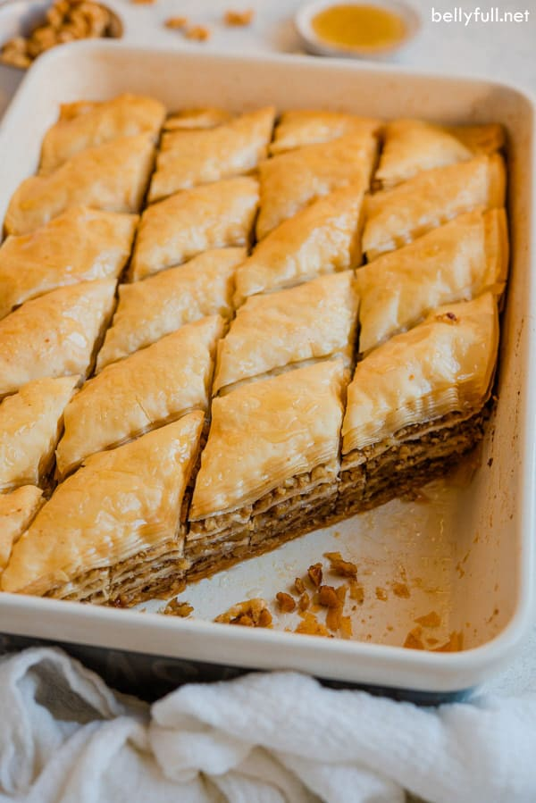Baklava in baking dish