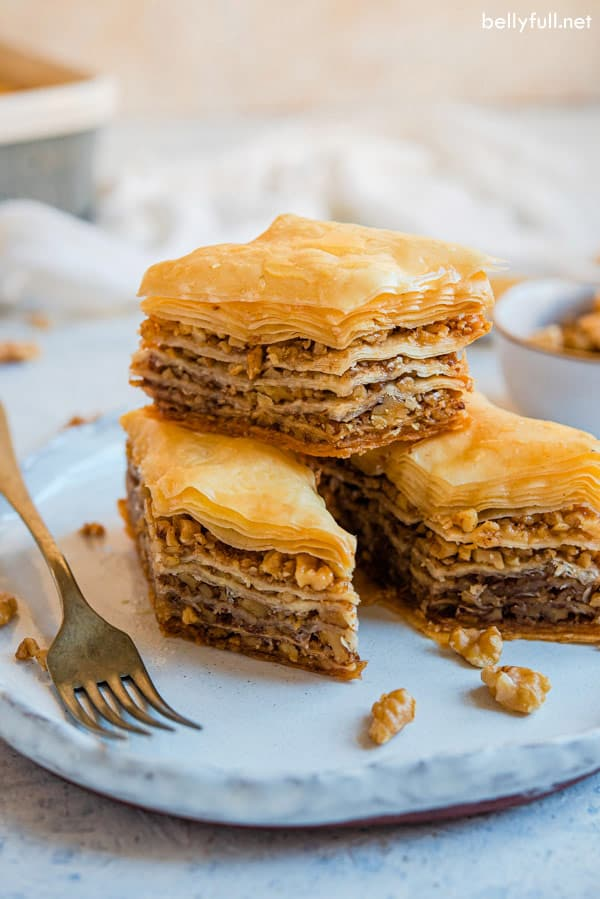 3 stacked cut Baklava on white plate