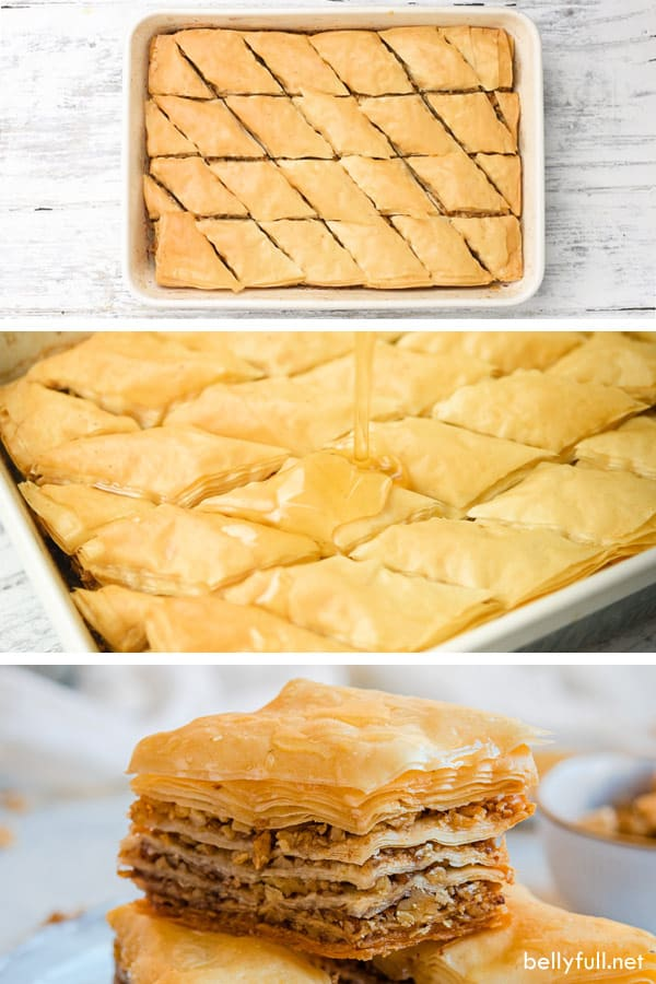step by step photos of baked Baklava and syrup pour