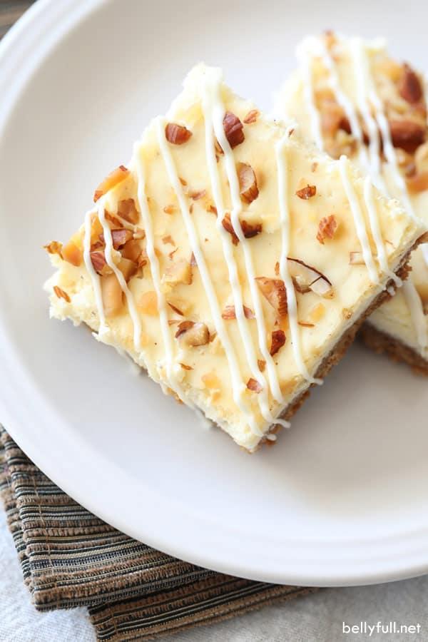 eggnog cheesecake cut into bars
