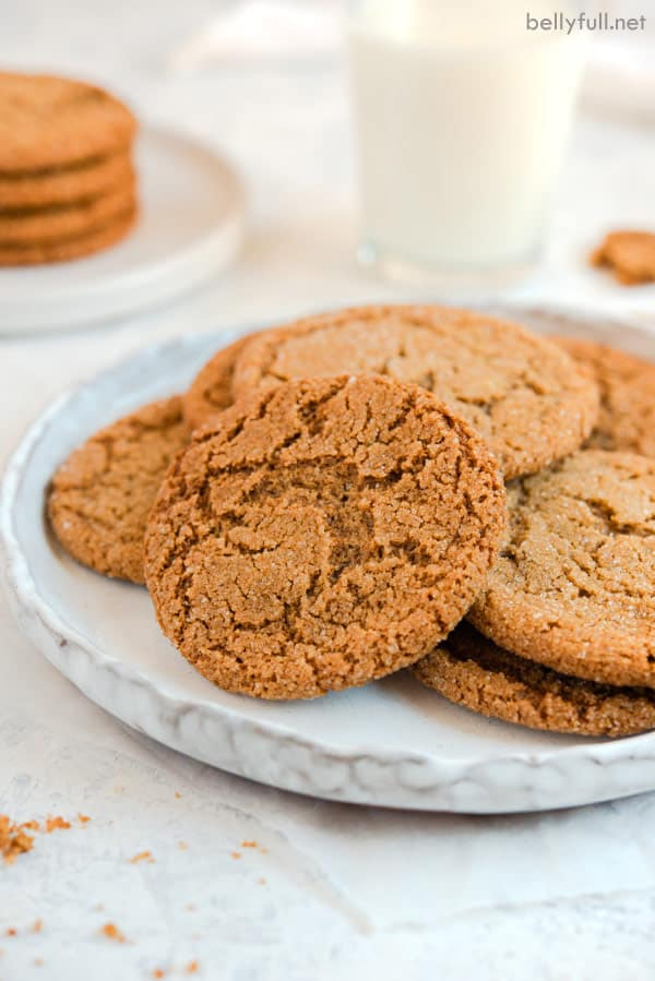 molasses cookies on white plate
