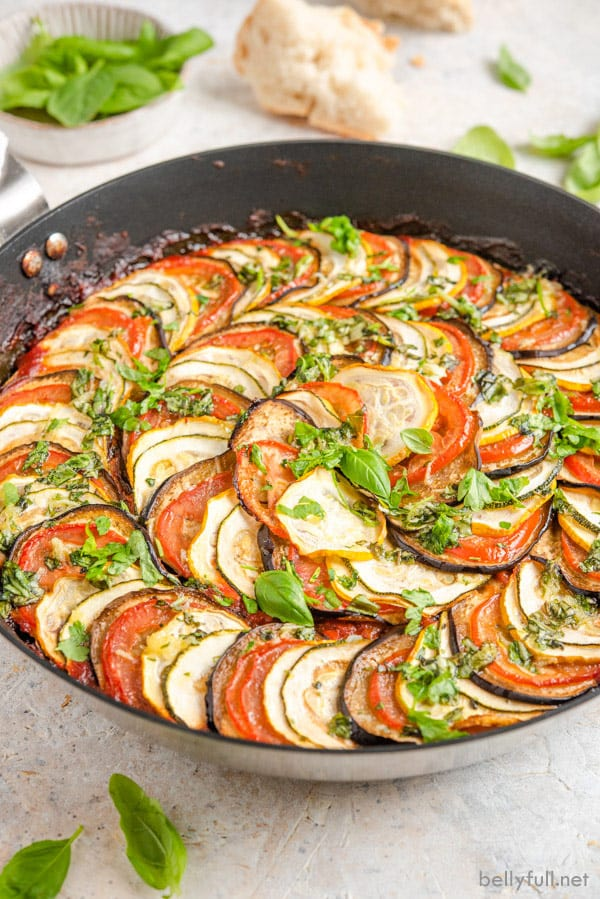 side angle picture of Ratatouille in skillet