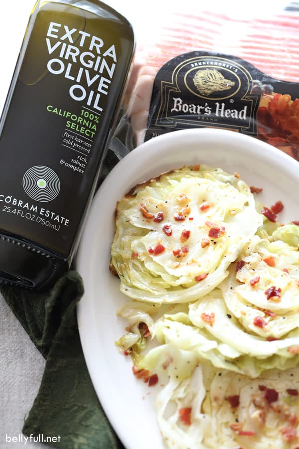 roasted cabbage with olive oil and bacon packaging