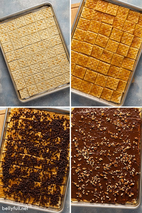 4 picture collage of saltine toffee crack being made