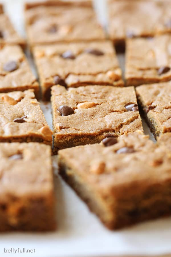 chewing pudding cookie bars cut spread out on parchment paper