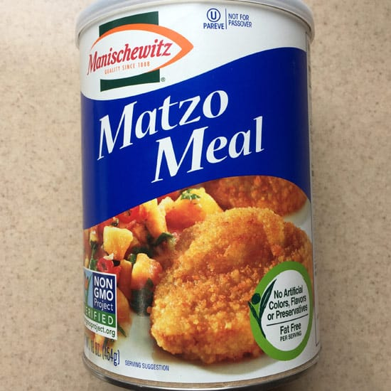 Manischewitz matzo meal in container