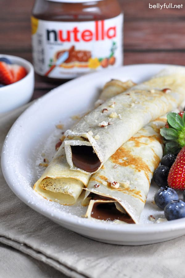 thin pancakes stuffed with nutella and rolled