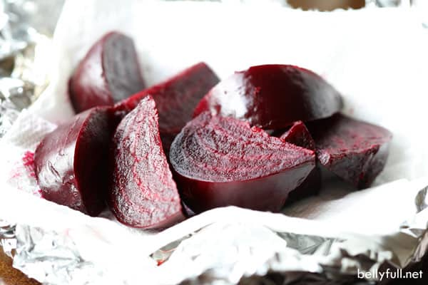 roasted beets cut into wedges