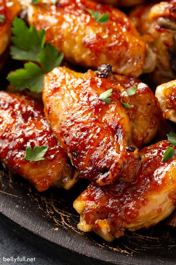 Caribbean pineapple basted chicken wings close up