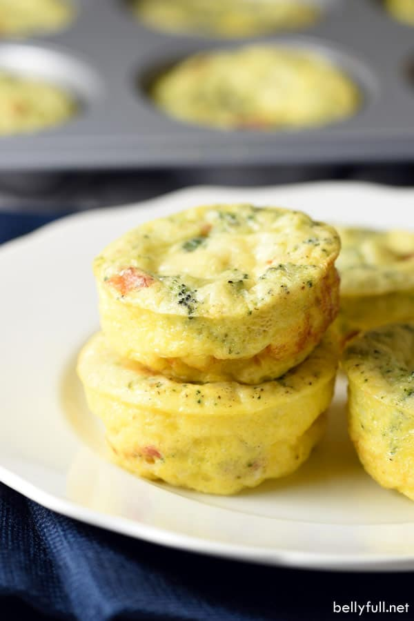 2 stacked Egg Muffins on white plate