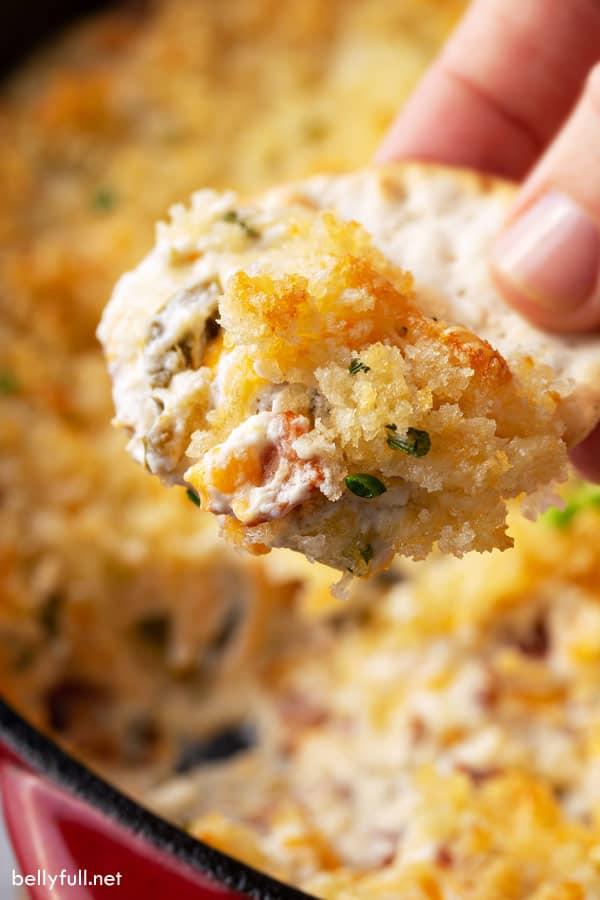 jalapeno popper dip on cracker