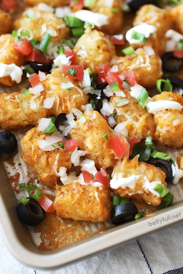close up picture of Totchos Tater Tot Nachos