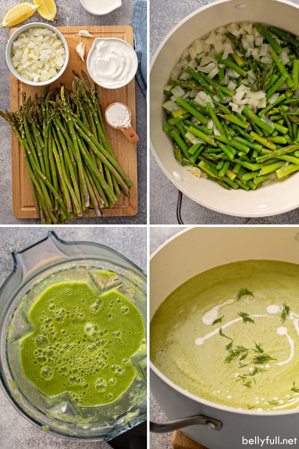 Creamy Asparagus Soup step by step process pictures