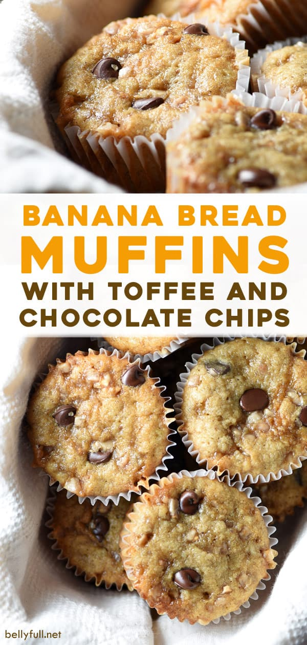 long pin for Chocolate Chip Toffee Banana Bread Muffins