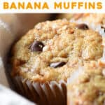 pin for Chocolate Chip Toffee Banana Bread Muffins