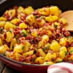 corned beef hash in fry pan