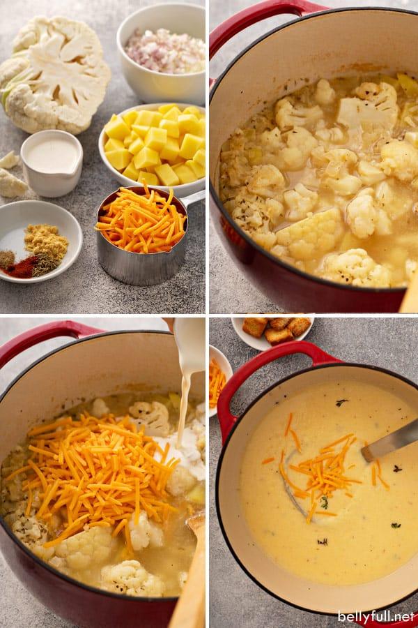 Creamy Cauliflower Soup step by step process photos
