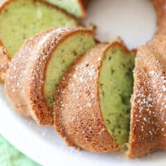 overhead pictures of sliced pistachio cake