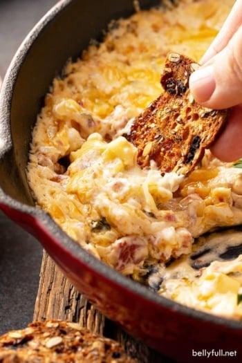 baked gooey Reuben Dip in skillet