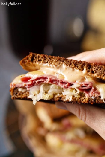 close up of inside cut Reuben Sandwich