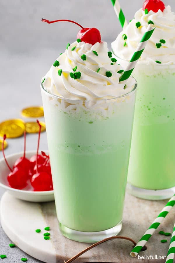 shamrock shake with striped green and white straws