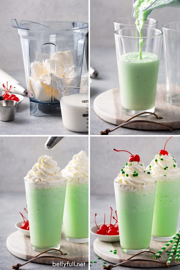step by step process pictures for Shamrock Shake
