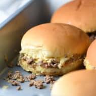 chopped cheeseburger sliders in baking pan