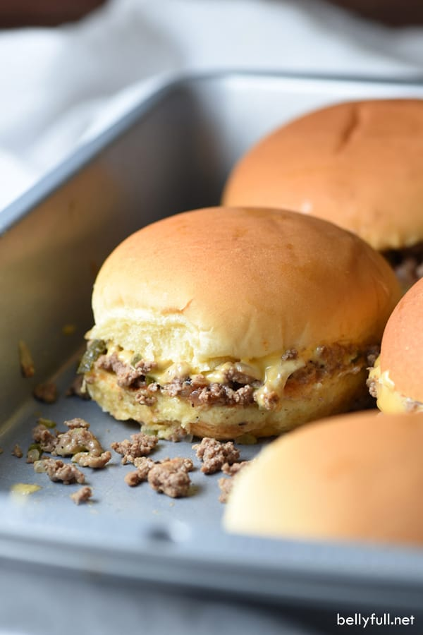 chopped cheeseburger sliders in baking pan