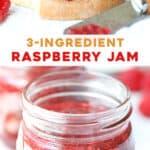 long pin for easy 3 ingredient raspberry jam