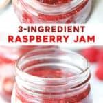 long pin for easy homemade raspberry jam