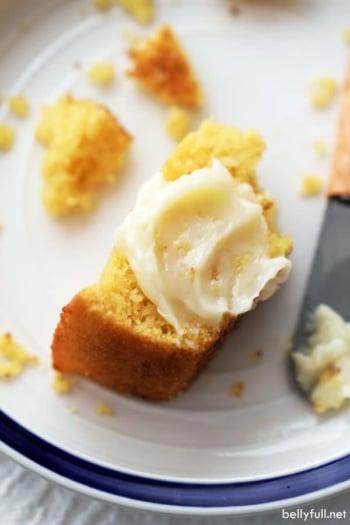 honey butter spread on a piece of cornbread