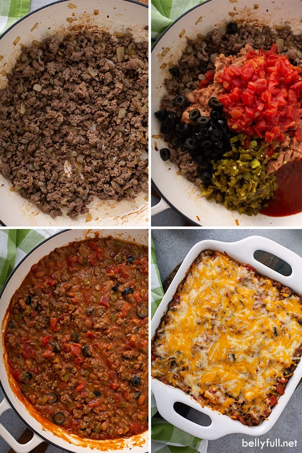 step by step process photos for Mexican Lasagna